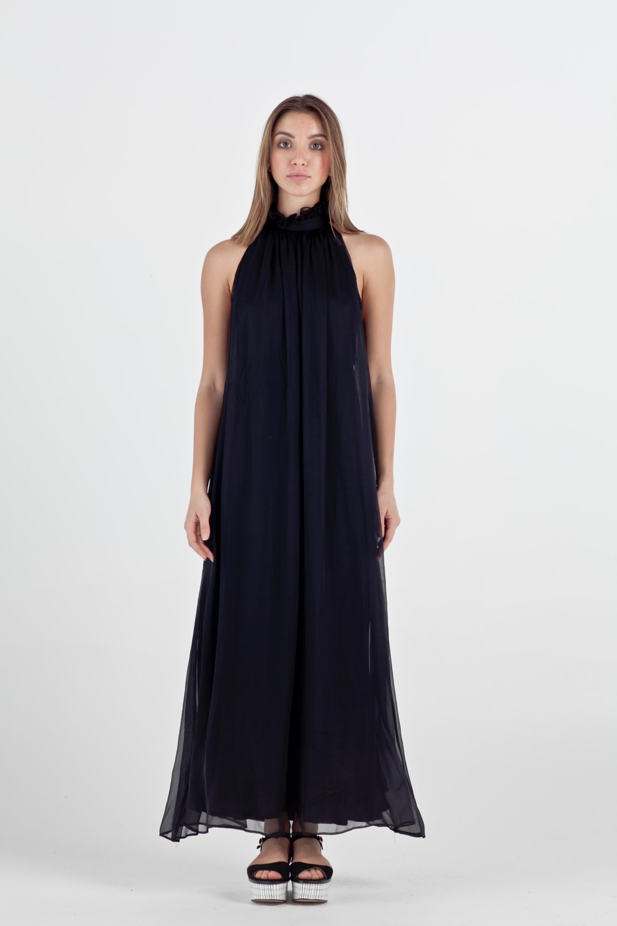 ISABELLE Silk Evening Maxi Dress | Micheletti Collections